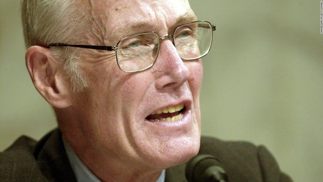 In 2000, Maria Cantwell challenged three-term incumbent Republican Sen. Slade Gorton of Washington and defeated him by 0.1% of all votes cast after a recount. Pictured, Gorton listens at a hearing in 2004.