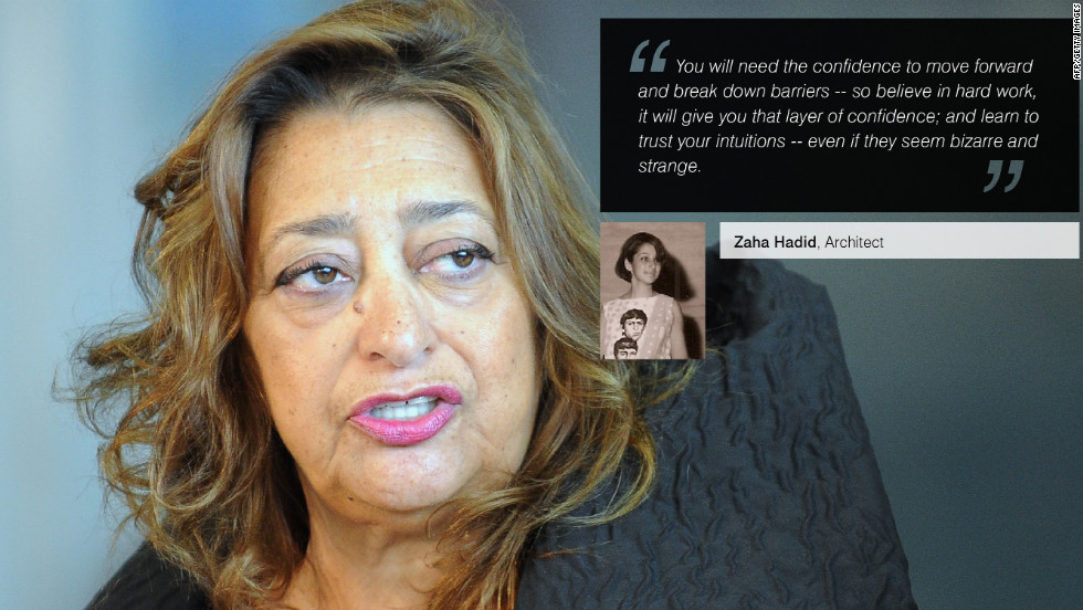 "Iraqi-born<a href=""/2012/08/01/business/leading-women-zaha-hadid/index.html"" target=""_blank""><strong> Zaha Hadid</a></strong> is a celebrated architect and the first woman to win architecture's Pritzker Prize. Recently, Hadid designed the <a href=""/2012/07/10/world/europe/london-2012-olympics-environment/index.html"" target=""_blank""><strong>London Olympics Aquatics Centre</a></strong>."
