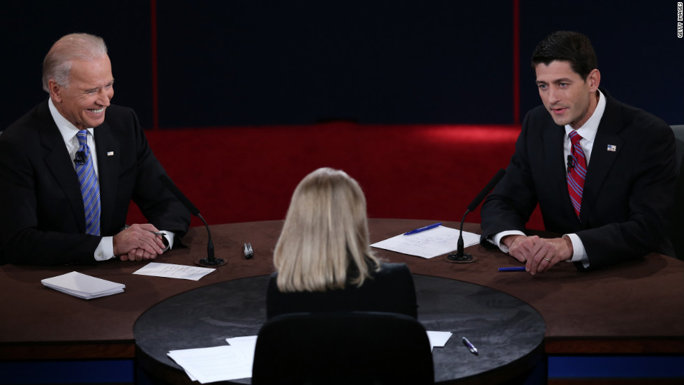 Vice President Biden, left, and Republican vice presidential candidate Ryan, right, participate in the debate.