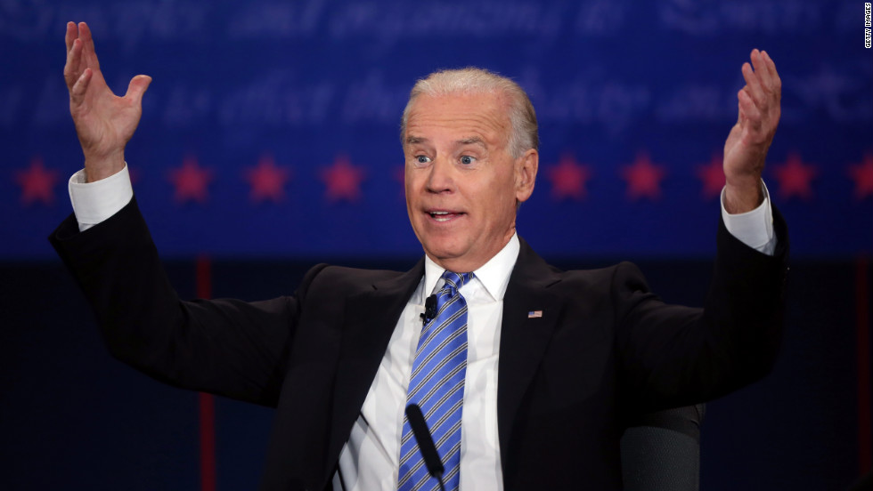Vice President Biden reacts during the debate.