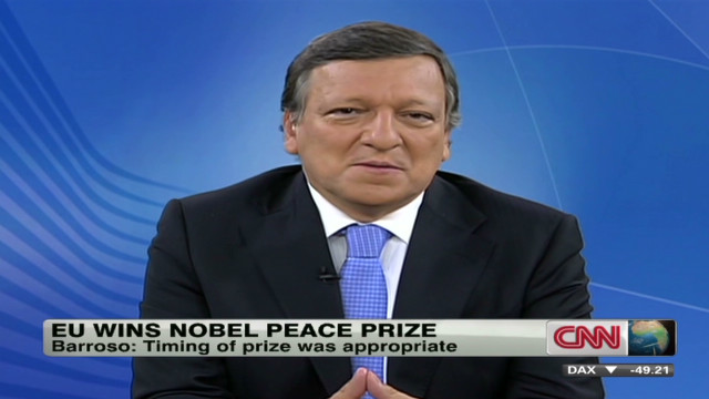 Barroso: EU's Nobel Prize win well timed