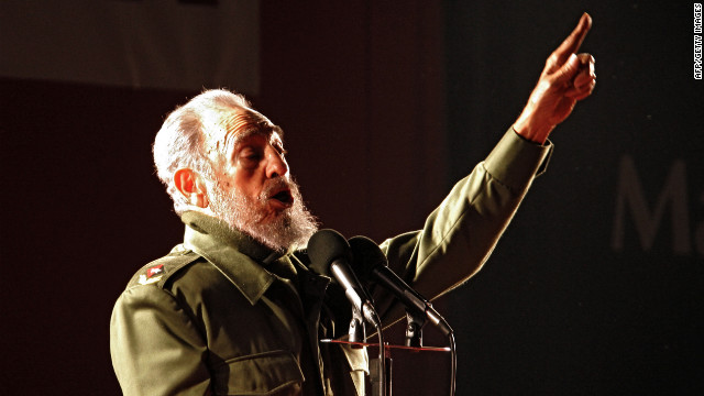 Cuban President Fidel Castro delivers a speech during a political rally of the Alternative Mercosur Summit in Cordoba, Argentina on July 21, 2006.