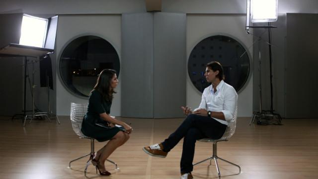 El tenista español Rafael Nadal durante la entrevista con Ana Pastor, en la primera edición de Frente a Frente.