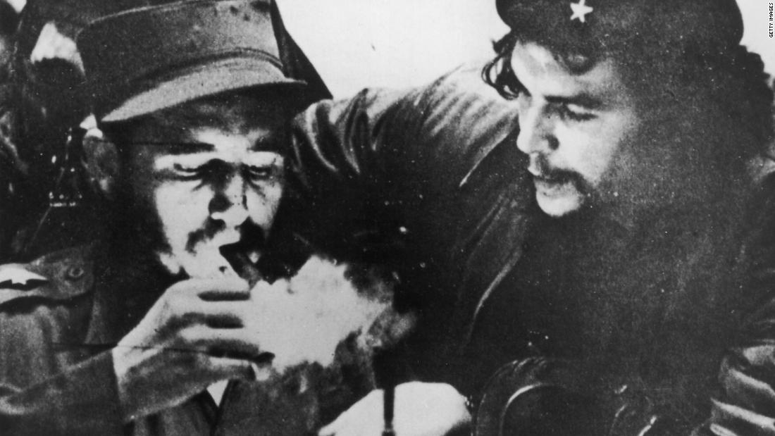 Castro with Argentine revolutionary Che Guevara during the early days of their guerrilla campaign in Cuba's Sierra Maestra mountains. Guevara, Castro and Castro's brother Raul organized a group of Cuban exiles that returned to Cuba in December 1956 and waged a guerrilla war against government troops.