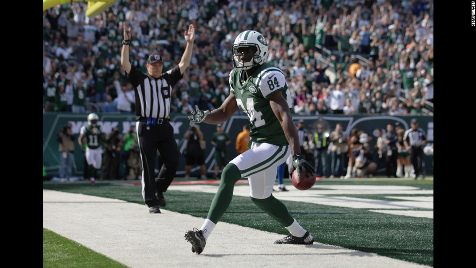 Stephen Hill of the New York Jets celebrates a touchdown Sunday against Indianapolis.