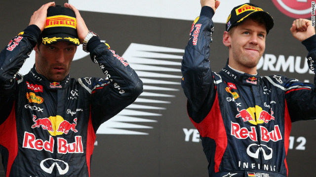 Sebastian Vettel celebrates with Red Bull teammate Mark Webber after their 1-2 in the Korean Grand Prix.