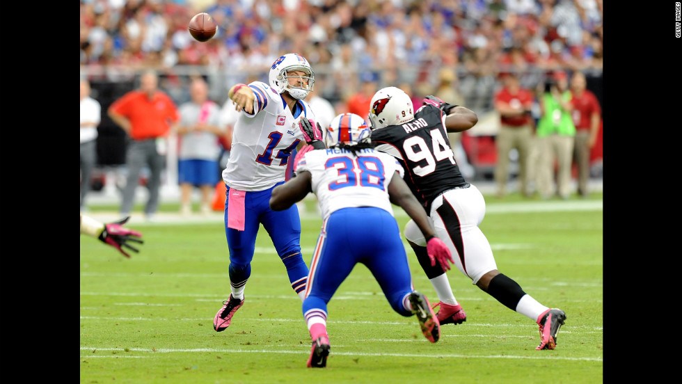 Buffalo Bills quarterback Ryan Fitzpatrick throws the ball downfield against the Arizona Cardinals on Sunday at the University of Phoenix Stadium in Glendale, Arizona.