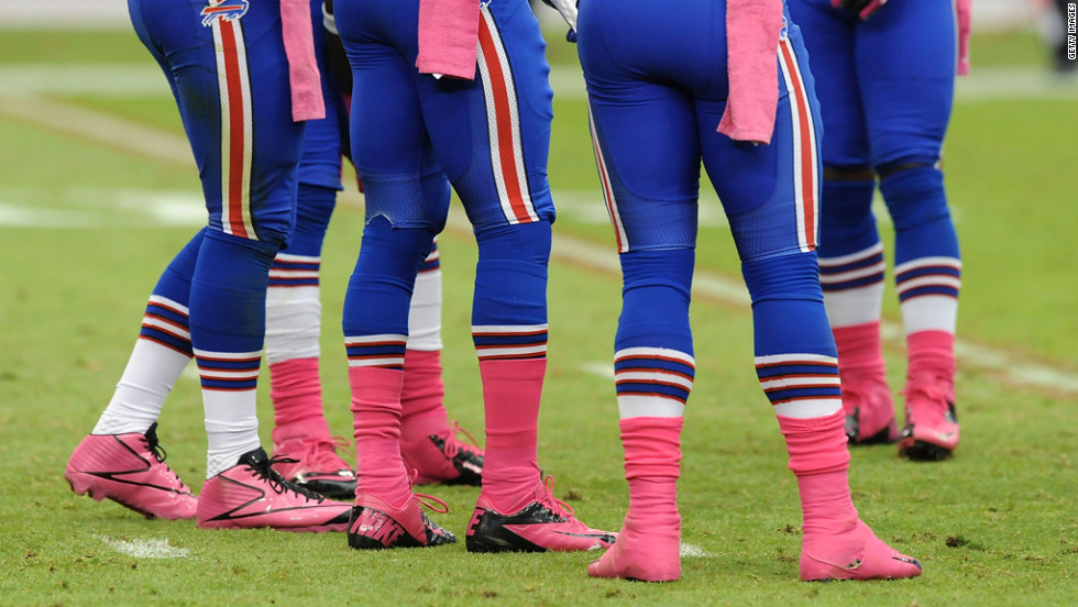 Members of the Buffalo Bills wear pink during Sunday's game against the Arizona Cardinals. October is Breast Cancer Awareness Month.