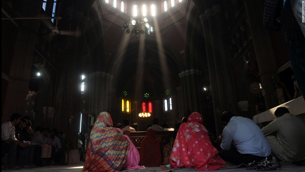 Pakistani Christians attend a mass praying for the recovery of Malala at a church in Lahore.