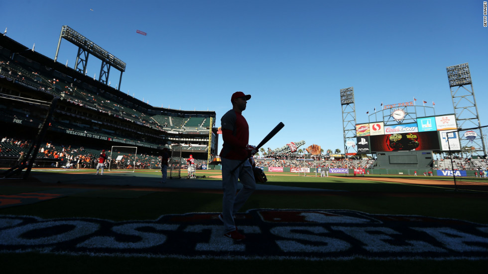 Carlos Beltran of the St. Louis Cardinals walks off the field during batting practice before Game One of the series against the San Francisco Giants.