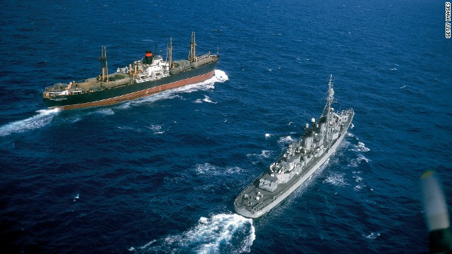 American destroyer USS Vesole (DD-878) escorting the Russian freighter Polzunov into international waters bringing an end to the Cuban Missile Crisis in October 1962.