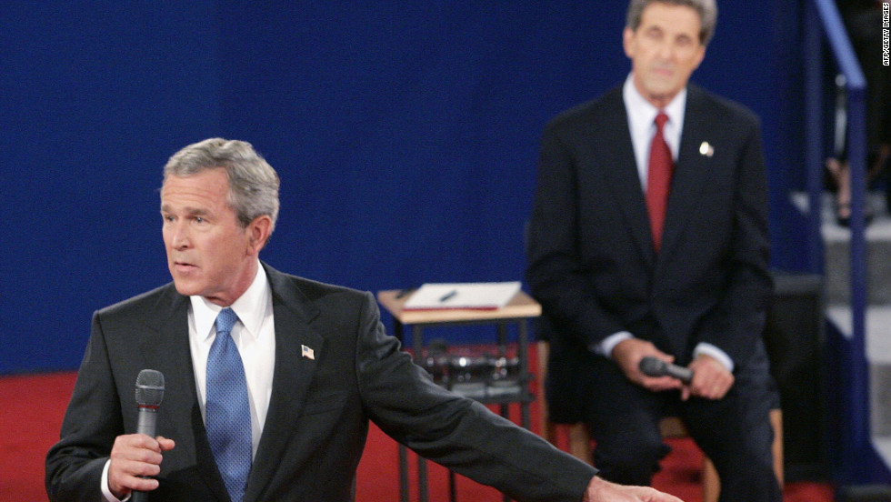 President George W. Bush had a hard time coming up with three wrong decisions that he'd made in response to a question from an audience member during the town hall debate in 2004 at Washington University in St. Louis.