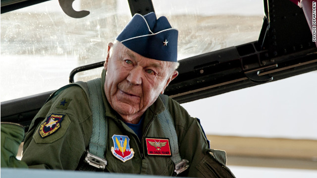 Chuck Yeager re-enacts milestone