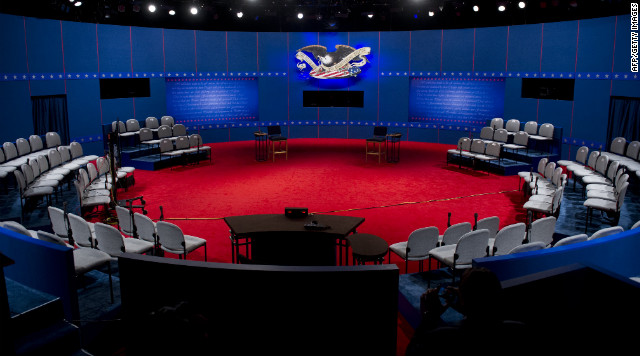 The stage is set prior to the second presidential debate to be held at the David Mack Center at Hofstra University in Hempstead, New York, October 16, 2012. US President Barack Obama and Republican Presidential candidate Mitt Romney will face off later Tuesday in a town-hall style debate with undecided voters asking questions of the two candidates. AFP PHOTO / Saul LOEB (Photo credit should read SAUL LOEB/AFP/Getty Images)