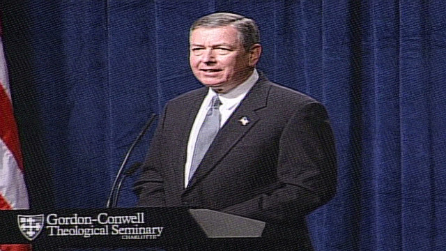 John Ashcroft singing 'Let the Eagles soar' at a seminary in 2002