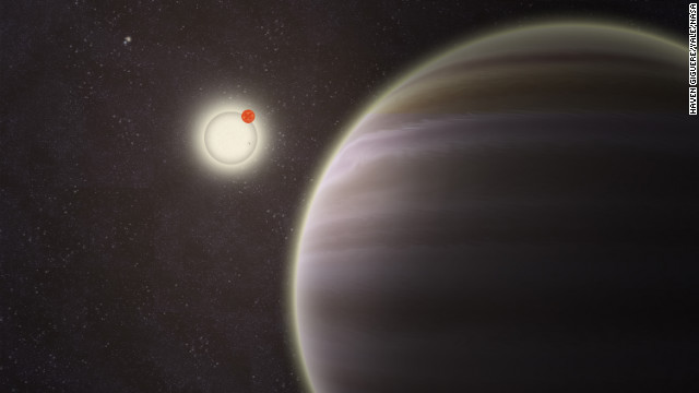An artist's illustration of PH1, a planet discovered by volunteers from the Planet Hunters citizen science project. PH1, shown in the foreground, is the first reported case of a planet orbiting a double-star that, in turn, is orbited by a second distant pair of stars. The phenomenon is called a circumbinary planet in a four-star system.