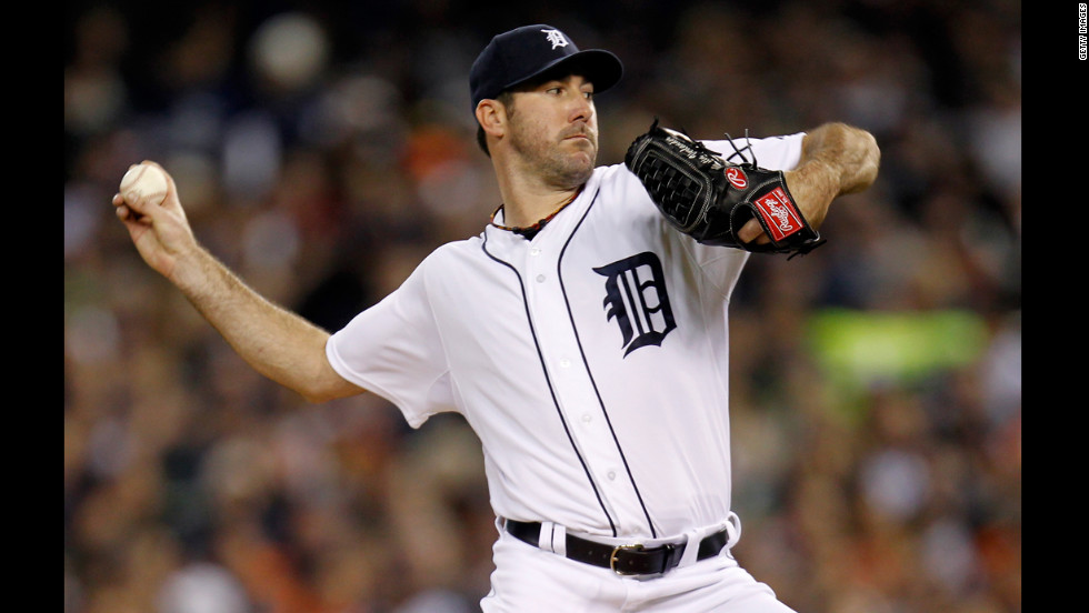Detroit Tigers starting pitcher Justin Verlander throws a pitch against the New York Yankees during the first inning.