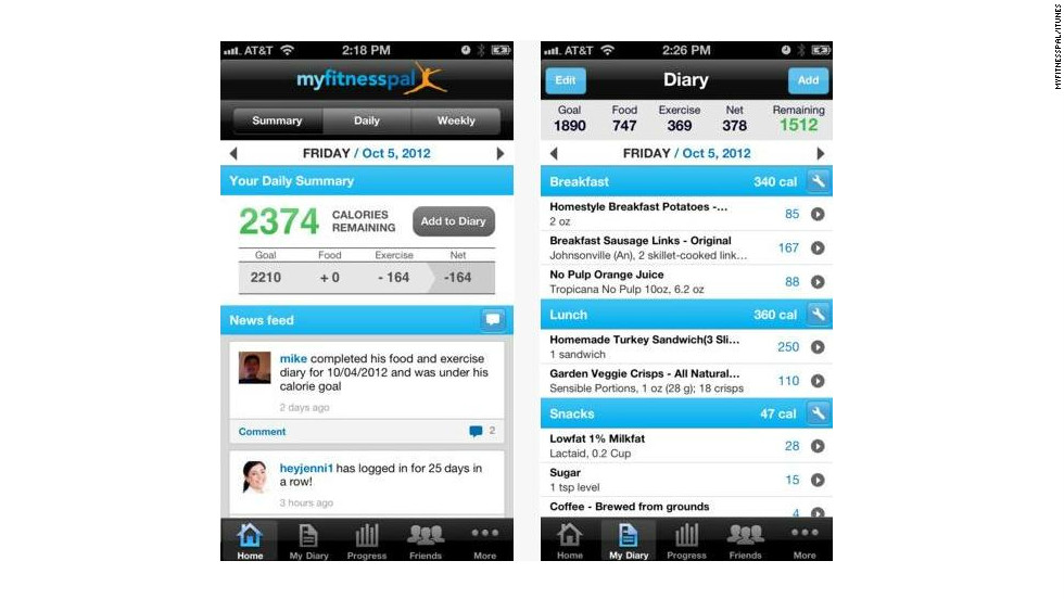 """<a href=""""http://myfitnesspal.com"""" target=""""_blank"""">Calorie Counter & Diet Tracker</a>: (free, myfitnesspal.com) MyFitnessPal has a database with more than 2 million foods, and touts its fast and easy exercise and diet entry, allowing users to keep track of calorie burning and calorie intake on the go. (iPhone, iPod Touch, iPad, Android, BlackBerry, Windows)"""