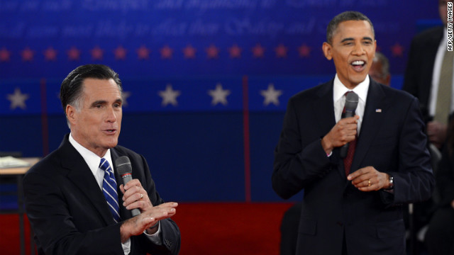 Republican Presidential nominee Mitt Romney and US President Barack Obama debate on Tuesday, October 16, during the second of three presidential debates at Hofstra University in Hempstead, New York.