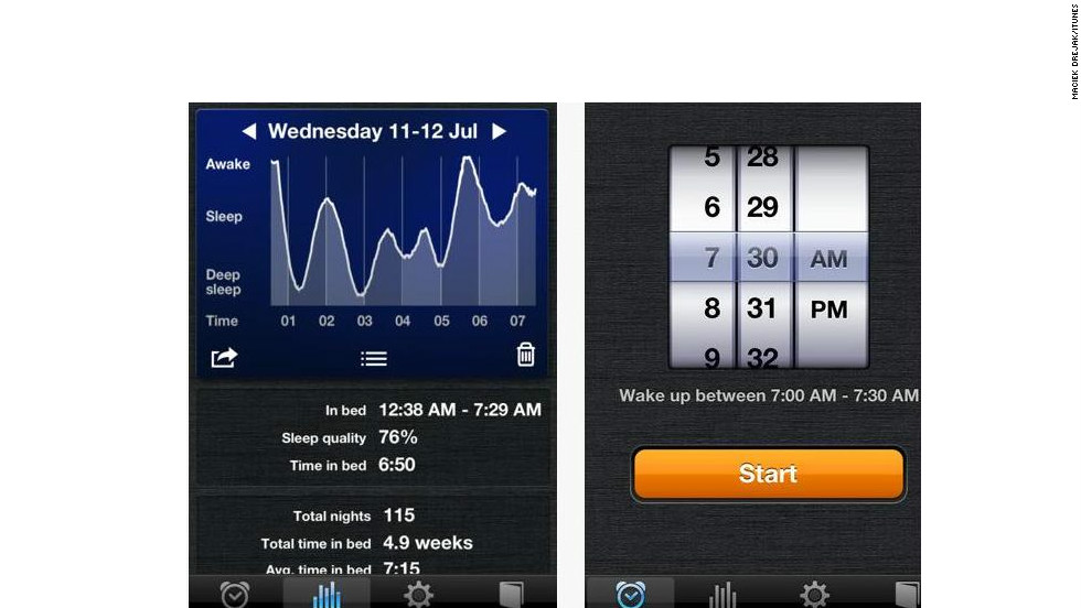 "<a href=""http://sleepcycle.com"" target=""_blank"">Sleep Cycle</a>: ($ 0.99, sleepcycle.com) This alarm keeps track of users' sleeping patterns and then creates a 30-minute window around a pre-set alarm. Within that window, the app can then wake you from the lightest phase of sleep, which is the natural waking point. Even better -- based on user reviews, it works. (iPhone, iPod Touch, iPod)"