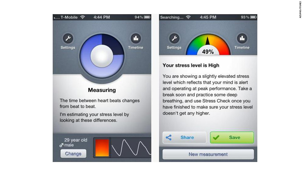 "<a href=""http://azumio.com"" target=""_blank"">Stress Check</a>: (free, $1.99 upgrade: azumio.com) This app is both educational and diagnostic. it uses a one-step process -- place an index finger on the camera lens of your phone -- and then measures your stress level while supplying stress tips and tricks. (iPhone, iPod Touch, Android)"