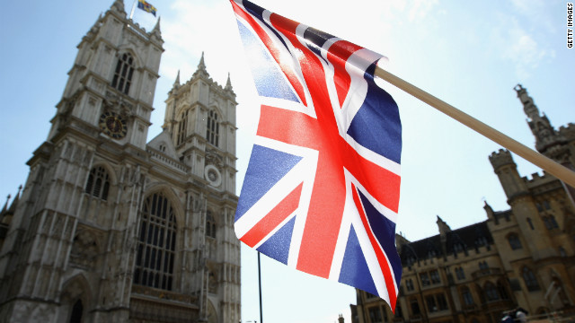 A Union Jack flies outside Westminster Abbey on April 27, 2011 in London.