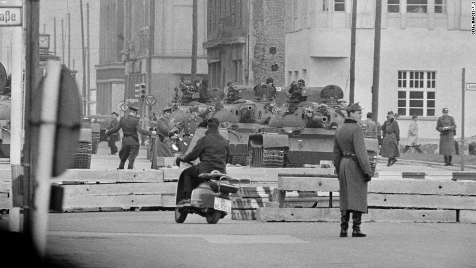 Checkpoint Charlie was the site of one of the tensest moments of the Cold War, as Soviet tanks (file photo) engaged in a dramatic stand-off across the checkpoint with American tanks in October 1961.