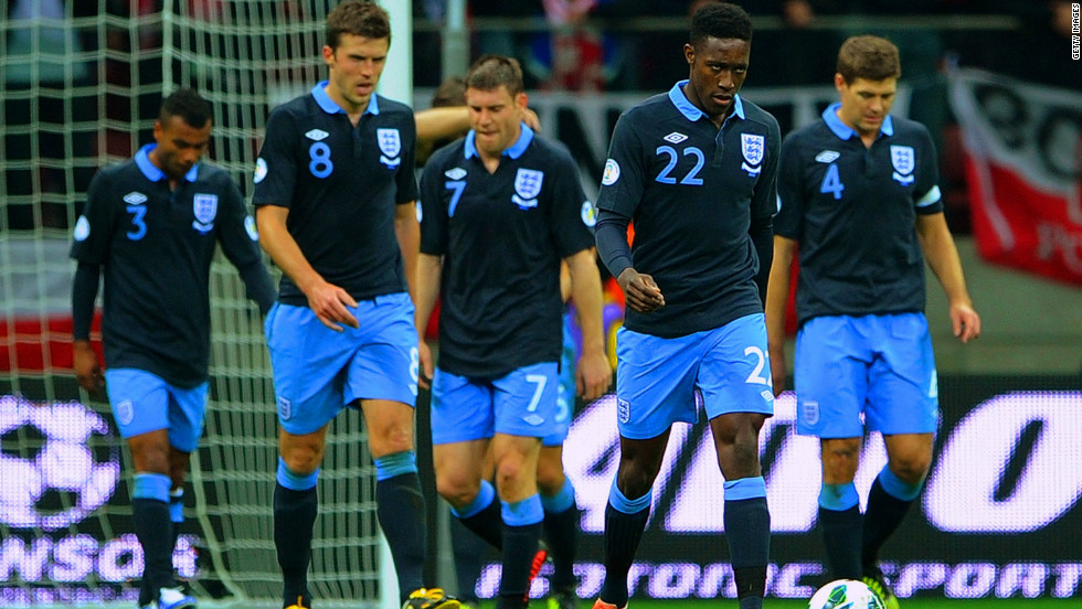 England's players looked dejected after they failed to hold on to their first-half lead in Warsaw. Roy Hodgson's men have now taken eight points from four games in Group H and sit one point clear of nearest rival Montenegro.