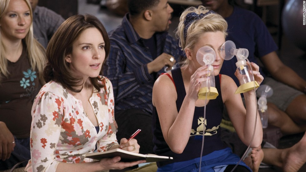 "Fey and Poehler co-starred in the 2008 film ""Baby Mama."" When Fey's character discovers that she's unable to get pregnant, she hires Poehler's character to be her surrogate."