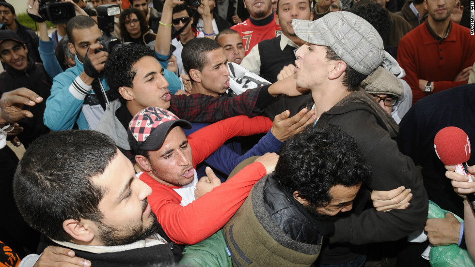 Belghouat celebrates his release from the Oukacha prison in Casablanca on January 12, 2012, having been convicted of showing contempt toward public servants in the exercise of their duty.