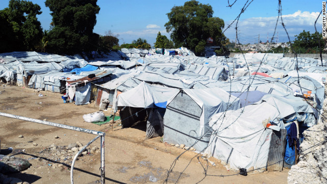 One of the temporary displacement camps set up in Haiti after the earthquake, pictured 2012.