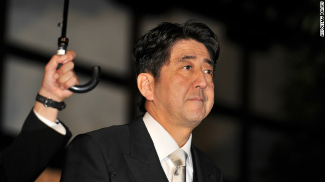 Liberal Democratic Party leader Shinzo Abe leaves the controversial Yasukuni Shrine in Tokyo on Wednesday.