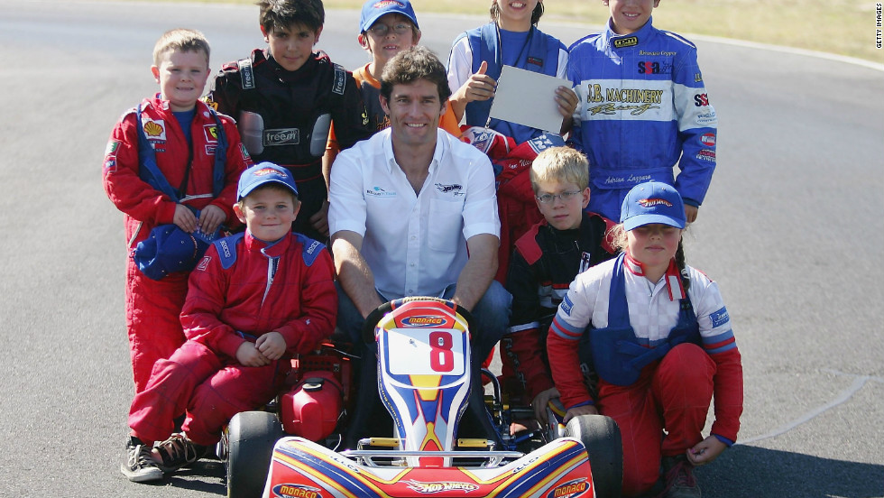 Webber still thinks go-karting is the best way for young drivers to learn about motorsport and see if they have what it takes to progress. Webber is pictured with a group of karting kids in Melbourne back in 2006.