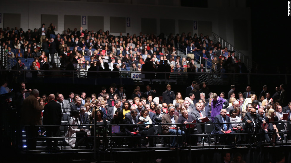 The audience gathers in the stands prior to the start of the presidential debate on Tuesday.