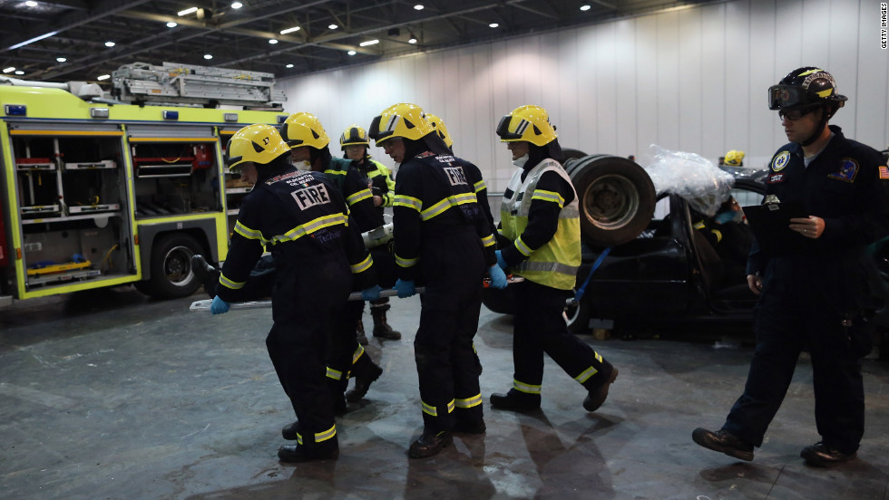 "Members of the Fire Brigade participate in an extrication and trauma challenge during the <a href=""http://www.wrescue.org/uk/rescue_challenges/"" target=""_blank"">World Rescue Challenge</a> at the Excel Center on Thursday, October 18, in London. Firefighters from across the world are currently competing in the annual contest. The challenges consist of a series of emergency rescue scenarios and is the largest fire and rescue service challenge in the world. The contest ends October 20."