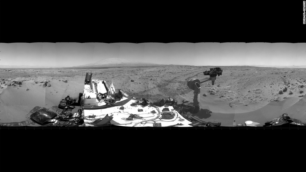 This 360-degree panorama shows the area where the rover will spend about three weeks collecting scoopfuls of soil for examination. The photo comprises images taken from the rover's navigation camera on October 5, 2012.