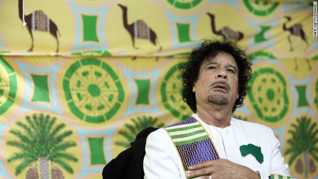 Libyan leader Moammar Gadhafi gives a press conference in Kiev on November 6, 2008.