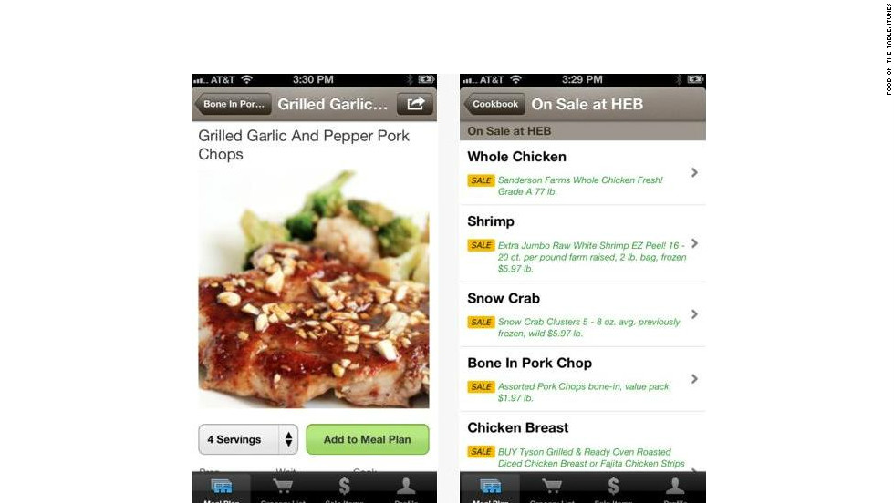 "<a href=""http://foodonthetable.com"" target=""_blank"">Food on the Table</a>: (free, foodonthetable.com) This recipe-builder and shopping aid is rich with features. Users can search recipes, pre-fill their grocery lists, browse store discounts and coupons and even search for meal ideas with what's already on hand in the fridge. (iPhone, iPod Touch, iPad, Android)"