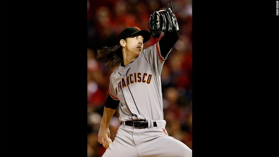 Starting pitcher Tim Lincecum of the San Francisco Giants pitches in the first inning against the St. Louis Cardinals.