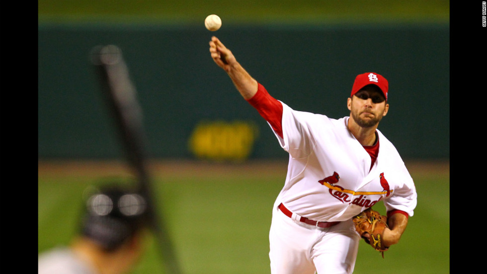 Starting pitcher Adam Wainwright of the St. Louis Cardinals pitches in the first inning against the San Francisco Giants.