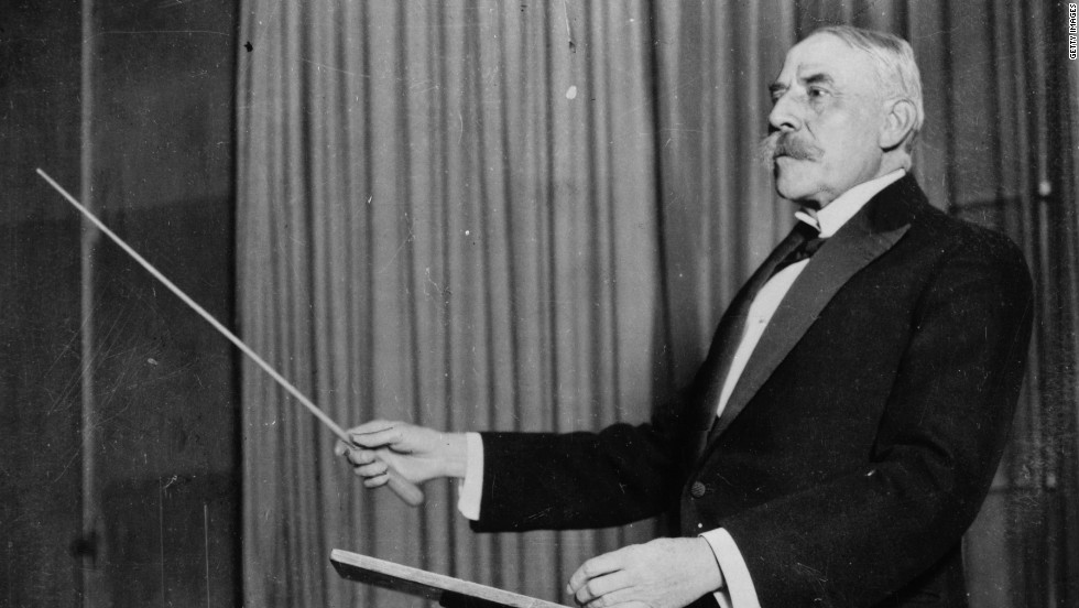 Sir Edward Elgar, leads a performance of one of his own compositions in January 1920. According to Trevor Jones, the British conductor is a master and an inspiration.