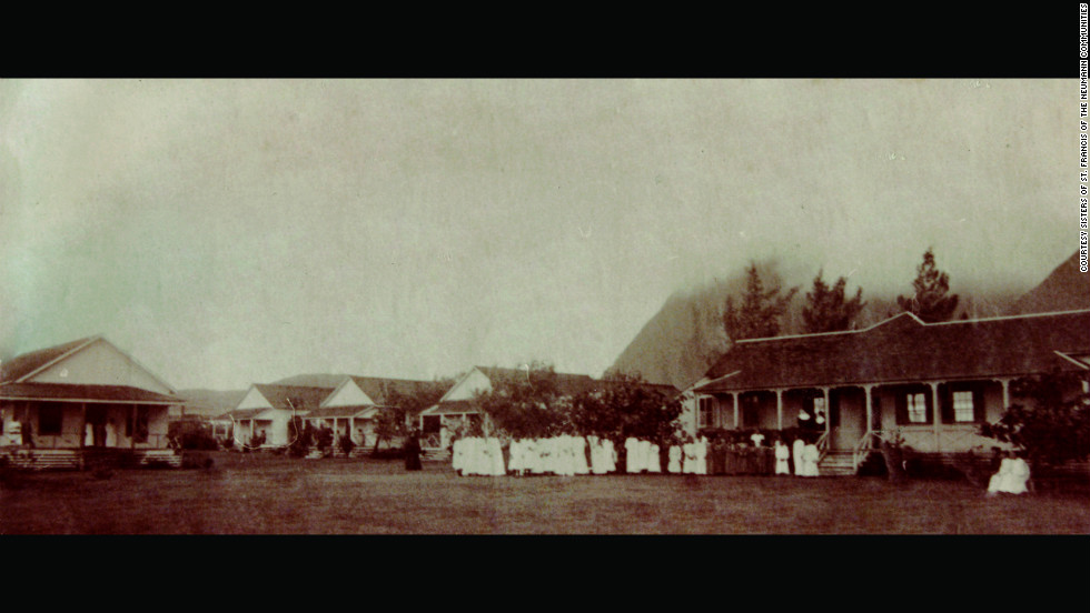 The sisters ran the Charles R. Bishop Home for Unprotected Girls and Women at Kalaupapa, Molokai.  This photo from about 1900 shows the patient cottages on the left and the convent of St. Elizabeth, where the sisters lived.