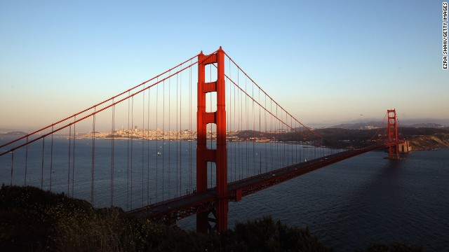 A view of the Golden Gate Brdige from the Marin Headlands on May 27, 2012 in San Francisco, California. The Golden Gate Bridge celebrates its 75th anniversary today. The 1.7 mile steel suspension bridge, one of the modern Wonders of the World, opened to traffic on May 27, 1937.