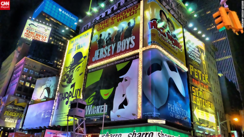 "There's no place quite like New York City for a musical theater lover. And for Montreal resident and iReporter Richard Theroux, he says there's nothing more exhilarating than catching a show in New York. ""Seeing all the musical theater posters was so impressive and vibrant. It was out of this world,"" he said. ""It was absolute magic."" <a href=""http://ireport.cnn.com/docs/DOC-849865"" target=""_blank""><br />Learn more about his Big Apple trip on his iReport</a>."