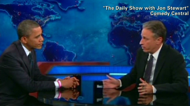 Jon Stewart presses Obama on Libya
