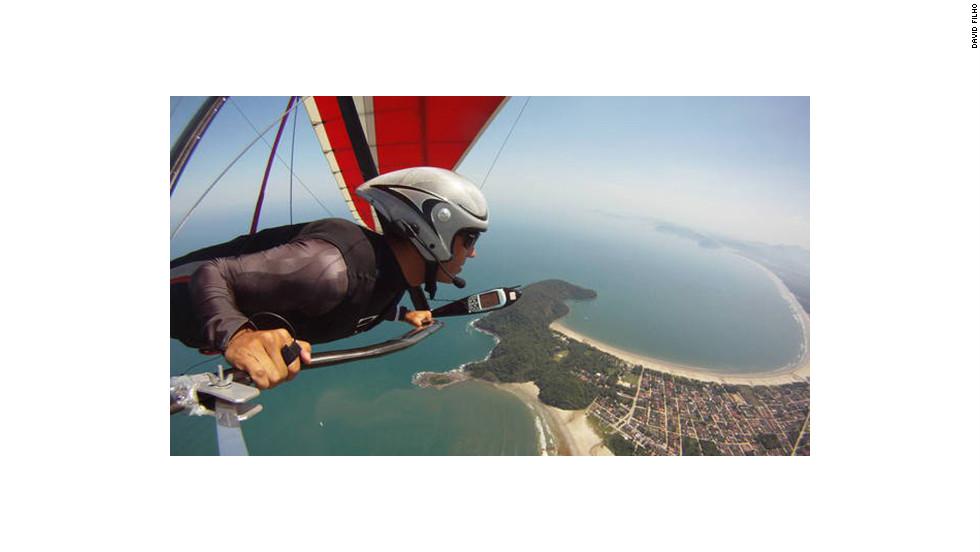 Hang glider David Filho cruising over Rio de Janeiro.