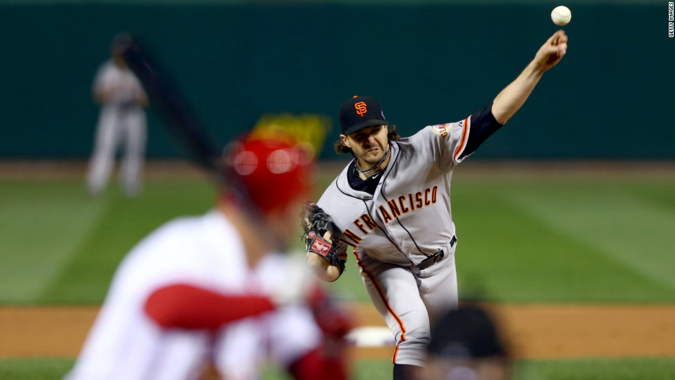 No. 75 Barry Zito of the Giants pitches in the first inning against the Cardinals.