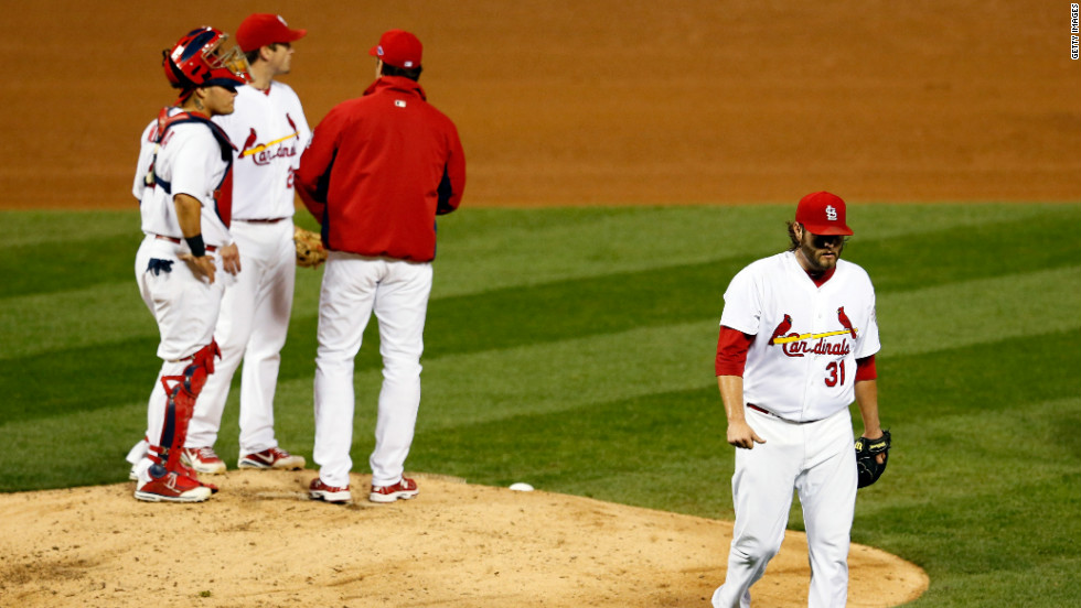 No. 31 Lance Lynn of the is taken out of the game in the fourth inning.
