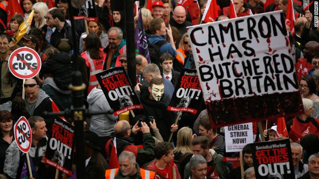 Demonstrators take part in a march in protest against the government's austerity measures on October 20, 2012 in London.