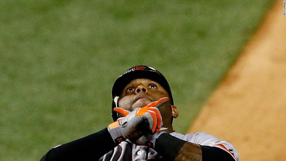 No. 48 Pablo Sandoval of the Giants reacts after hitting a solo home run in the eighth inning.